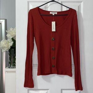 Burnt Orange Long Vertical Knit Long Sleeve Shirt